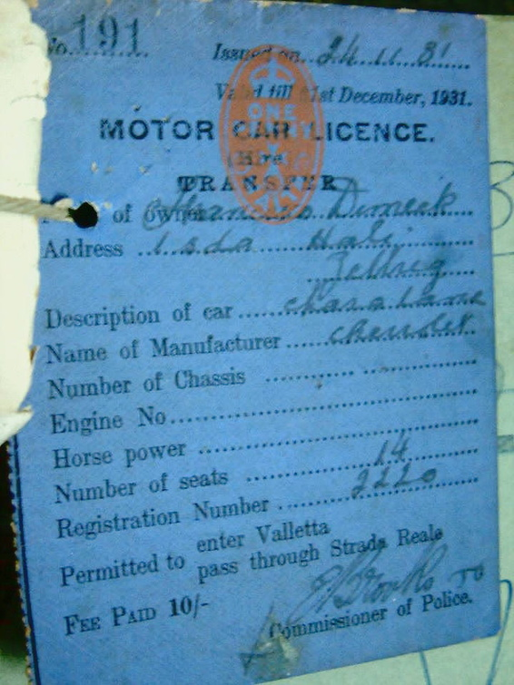 1931 licence for 14 seat Chevrolet 2220 - replaced by a new Ford in 1932.jpg